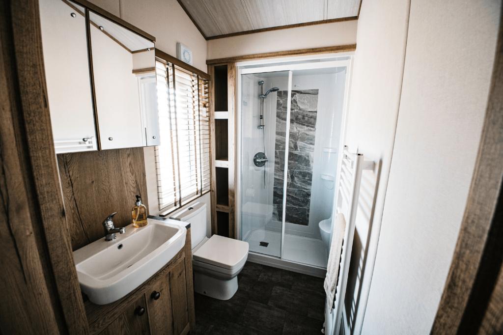 New 2019 ABI Harrogate 40ft x 20ft - 2 Bedroom Holiday Lodge For Sale at Bryn Defaid Lodge & Caravan Park - Caravan Park in North Wales - Master ensuite showeroom