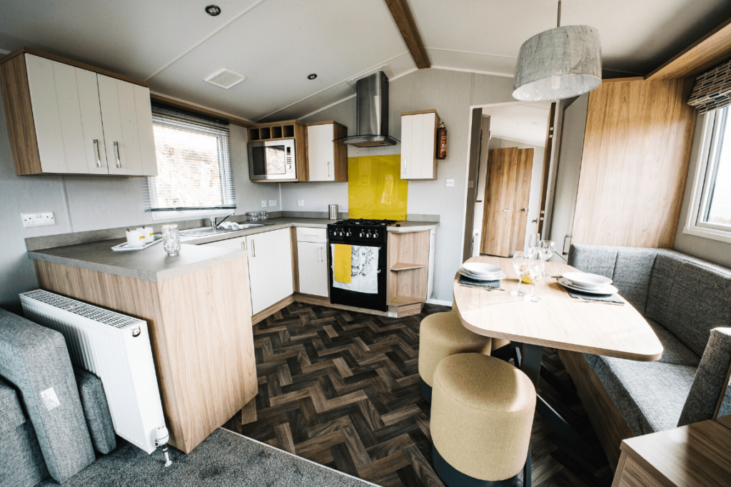 NEW 2020 Willerby Castleton 38ft x 12ft - 2 bed Static Caravan Holiday Home Sited on caravan park in North Wales - Bryn Defaid Lodge & Caravan Park - Kitchen