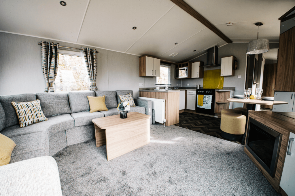 NEW 2020 Willerby Castleton 38ft x 12ft - 2 bed Static Caravan Holiday Home Sited on caravan park in North Wales - Bryn Defaid Lodge & Caravan Park - Lounge and kitchen view