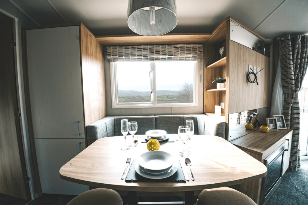 NEW 2020 Willerby Castleton 38ft x 12ft - 2 bed Static Caravan Holiday Home Sited on caravan park in North Wales - Bryn Defaid Lodge & Caravan Park - dining area views
