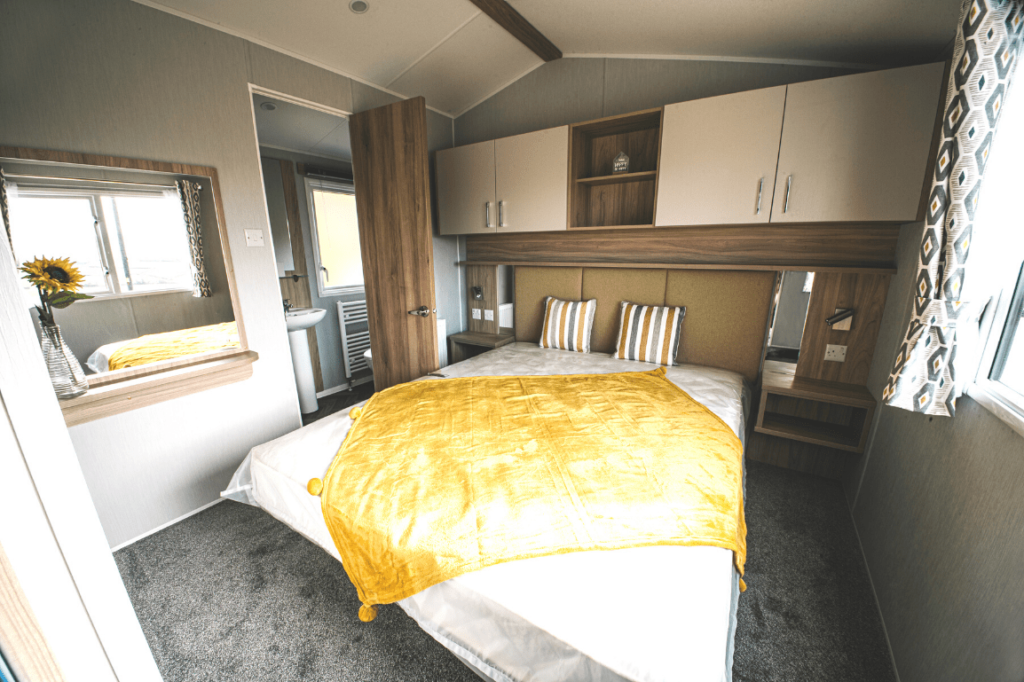 NEW 2020 Willerby Castleton 38ft x 12ft - 2 bed Static Caravan Holiday Home Sited on caravan park in North Wales - Bryn Defaid Lodge & Caravan Park - Master bedroom with ensuite shower room