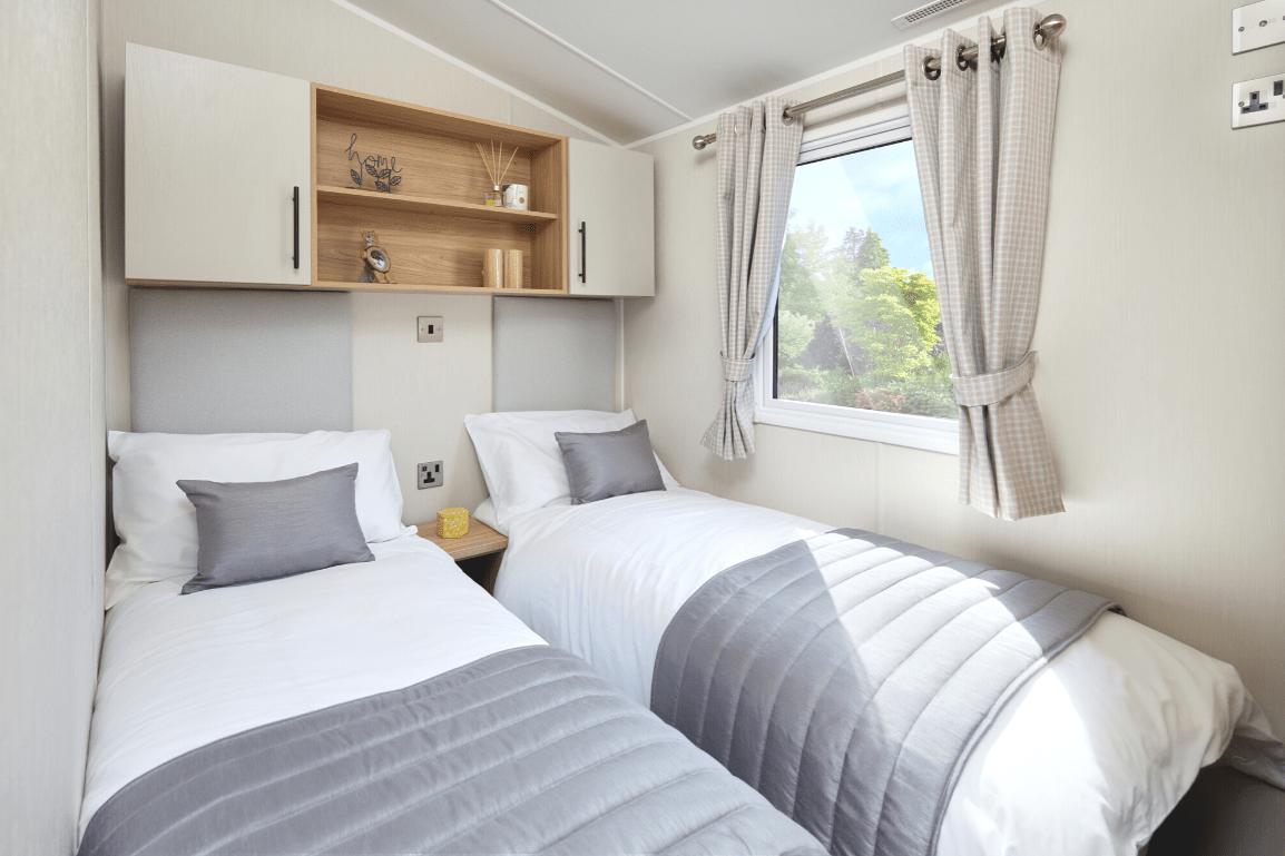 New 2021 Willerby Manor 38ft x 12ft - 2 Bedroom Static Caravan Holiday Home Sited On North Wales Caravan Park - Bryn Defaid Lodge and Caravan Park, Nr Abergele, North Wales - Twin Bedroom