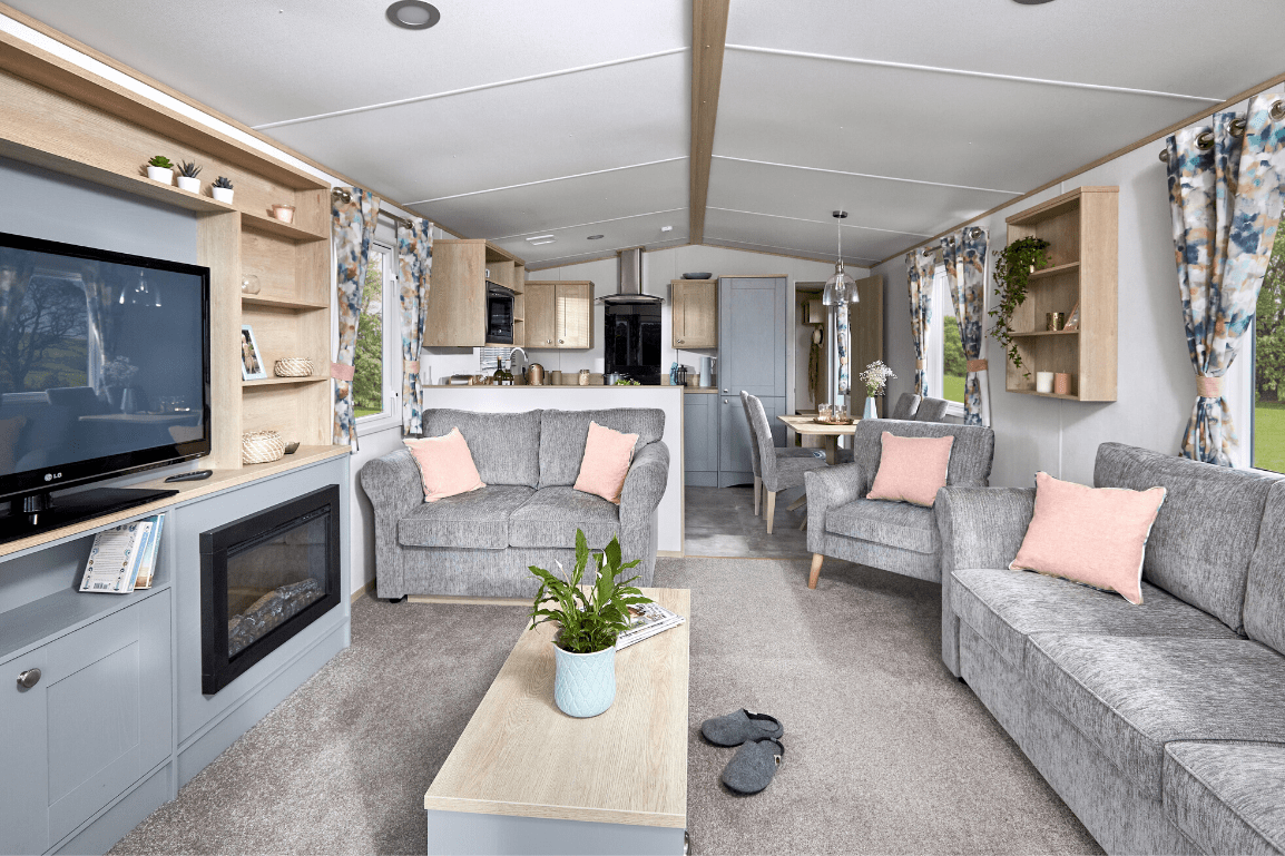 New 2021 ABI Roecliffe 39ft x 12ft - 2 Bed Static Caravan Holiday Home For Sale at Bryn Defaid Lodge and Caravan Park, Nr Abergele North Wales - Lounge View