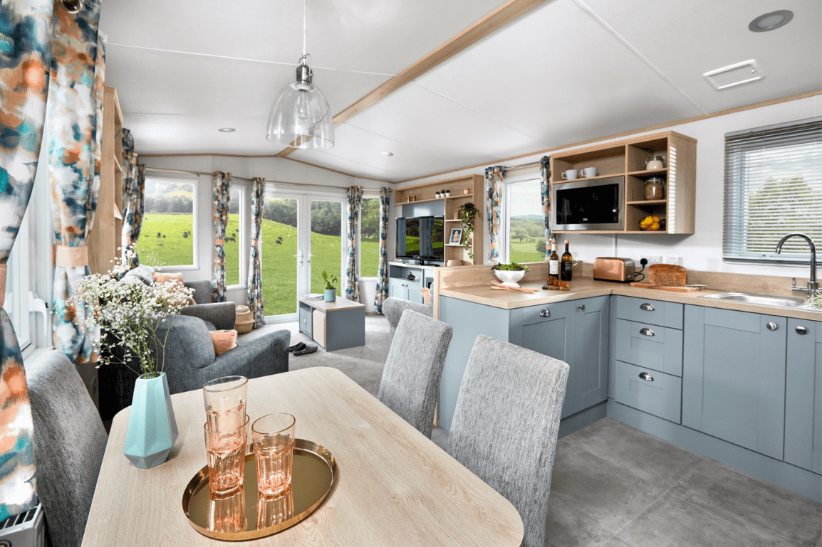 New 2021 ABI Roecliffe 39ft x 12ft - 2 Bed Static Caravan Holiday Home For Sale at Bryn Defaid Lodge and Caravan Park, Nr Abergele North Wales - Open Plan View