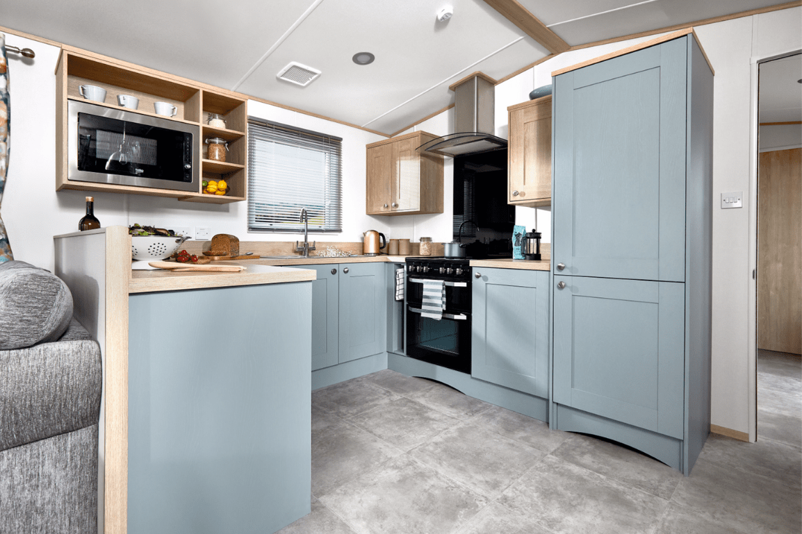 New 2021 ABI Roecliffe 39ft x 12ft - 2 Bed Static Caravan Holiday Home For Sale at Bryn Defaid Lodge and Caravan Park, Nr Abergele North Wales - Kitchen View