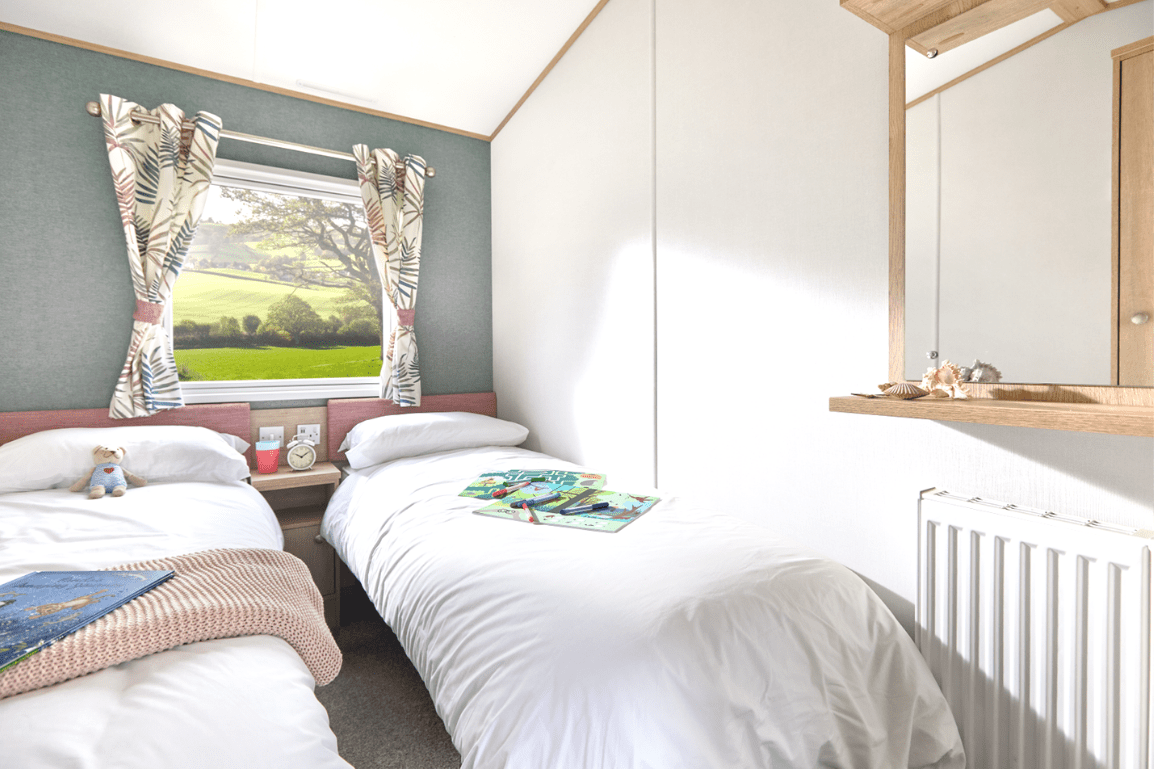 New 2021 ABI Roecliffe 39ft x 12ft - 2 Bed Static Caravan Holiday Home For Sale at Bryn Defaid Lodge and Caravan Park, Nr Abergele North Wales - Twin Bedroom