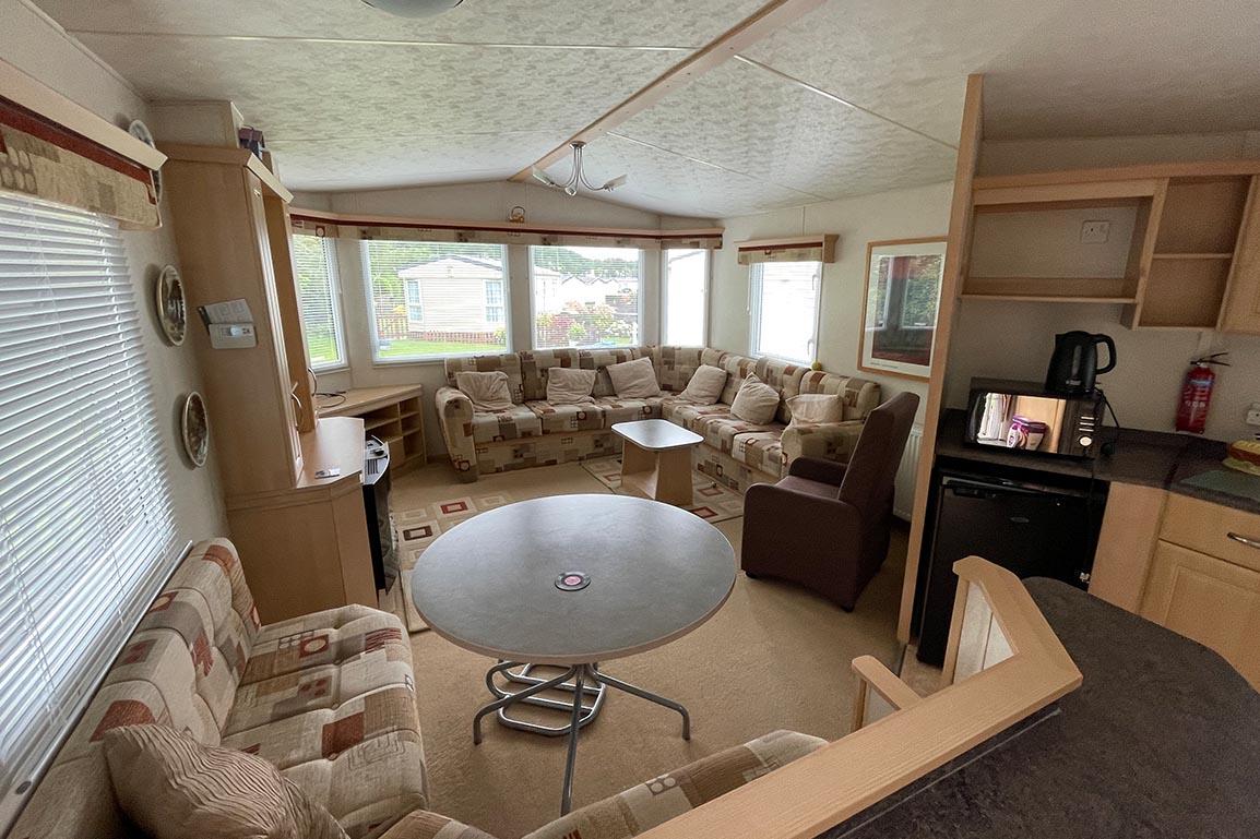 Preowned 2011 Willerby Westmorland 35ft x 12ft - 2 Bedroom Static Caravan Holiday Home - Bryn Defaid Lodge & Caravan Park, Llanddulas Nr Abergele, North Wales - Lounge and Kitchen View